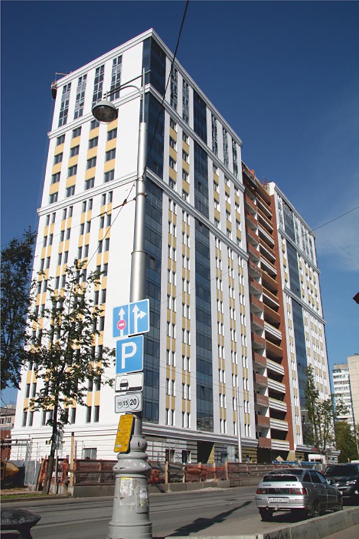 Многоквартирный жилой дом со встроенными помещениями общественного назначения и встроенно-пристроенной автостоянкой по ул. М. Горького 45, в г. Перми